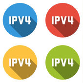 Collection of 4 isolated flat buttons for IPV4 (Internet Protoco