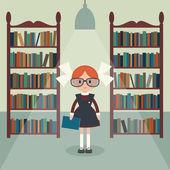 Soviet cartoon schoolgirl in library Soviet schoolgirl in school uniform  Simple flat vector