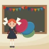Schoolgirl with balloons near the school board Soviet schoolgirl in school uniform Simple flat vector