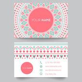 Névjegykártya sablon, kék, fehér és rózsaszín szépség fashion vector design pattern