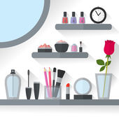 Home dressing table interior vector illustration Make up flat concept with cosmetics makeup table mirror flower make-up tools rose flower Make-up artist objects Accessories for pretty woman