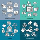 Isoelektrisches Konzept der Einkaufs- und Einzelhandel-Commerce, e-Commerce, m-Commerce, Lieferung, digitales Marketing, e-Banking, Wirtschaftswachstum, online-Shop. Flach-Symbol. Vektor-flach-Symbol. Web-Symbol. Geschäft-Symbol