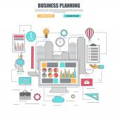 Thin line flat design concept for business planning