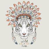 Tiger in war bonnet hand drawn animal illustration native american poster t-shirt design