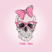 Hand drawn glamour girly scull t-shirt design