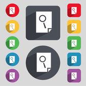 Hledat v souboru ikonu podepsat. Vyhledejte dokument symbol. Sada barevných tlačítek. Vektor