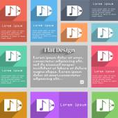 Cd player icon sign Set of multicolored buttons Metro style with space for text The Long Shadow Vector illustration