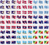 American Samoa Denmark Micronesia Norway Laos Cook Islands Georgia and Sandwich Sakha Republic Congo Republic Big set of 81 flags Vector illustration