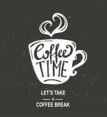 Coffee Time Hipster Jahrgang Schriftzug