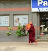 Burmai szerzetesek walking Street, Yangon