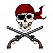 Pirate Skull in Red Bandana with Cross Pistols