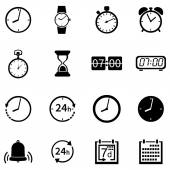 Vector Set of 16 Time Icons on white background