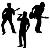 Vector silhouettes of rock band: vocalist and two guitarists