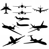 Vector set of 10 plane silhouette on white background