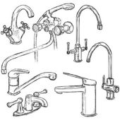 Vector Set of Sketch Faucets Types of Faucets