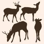 Vector Set of Dappled Deer Silhouetttes