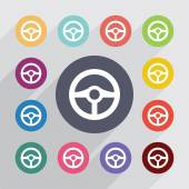 Steering wheel flat icons set Round colourful buttons Vector
