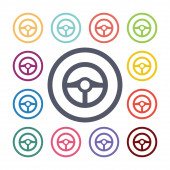 Wheel flat icons set Open round colorful buttons Vecto