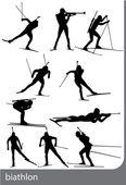 Biathlon silhouettes black on white backgroun