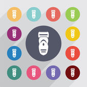 Electric shaver circle flat icons set Round colorful button