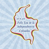 Happy Independence Day in Colombia Greeting card for 20 July with text Feliz Dia de la Independencia Retro with vintage background