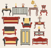 Interior Icons Set  furniture in vintage style elements for design