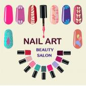 Vector  Set of colorful nail polish bottles Nails art beauty salon background - Illustration