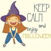 Halloween poster of witch on a broomstick Keep calm and enjoy halloween
