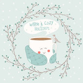 Holiday card with cute cup of tea in blanket and with seagull Christmas wreath vector illustration