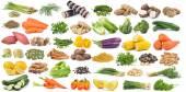 Sada zeleniny izolované na bílém pozadí