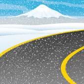 Vector illustration. Transportation concept. Winter road.