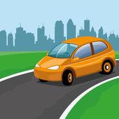 Illustrazione vettoriale. arancia auto sulla strada
