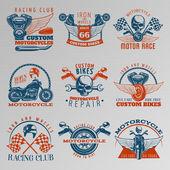 Motorcycle In Color Emblem Set