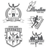 Set of running marathon and jogging emblems labels and badges isolated vector illustration