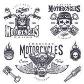 Sada vintage motocykl emblémy
