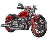 Vektorové ilustrace červená barva motocyklu