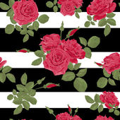 Seamless flower red roses pattern with horizontal stripes black whit
