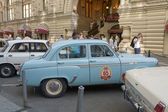 MOSCOW, RUSSIA - July 26, 2014: Car Moskvich-403IE on retro rally Gorkyclassic,  GUM, Moscow, side view