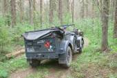 German car Horch-901 on retro rally in the woods, 3rd international meeting Motors of war near the city Chernogolovka, rear view