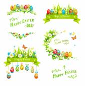 Easter design elements set Holiday floral decorations with color eggs