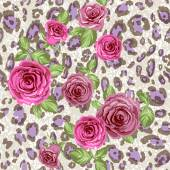 Fashion animal pattern and flowers Roses on repeating leopard background