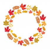 Vector frame with colored autumn leaves