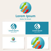 Abstract sphere circle logo design template with arrows Vector Icon