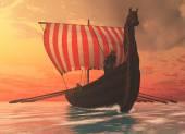 Viking muž a lodě