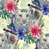 Vintage indian style tiger head pattern Hand drawn vector watercolor