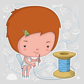 Red-haired girl is sitting on a chair in front of a large coil and tries to insert a purple thread through the eye of a needle.