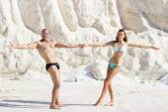 Couple having fun at salt marsh