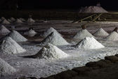 Sea salt at salt marsh at night