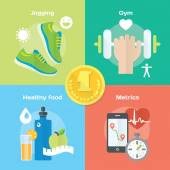 Ikony tělocvičnu, zdravé potraviny, metriky