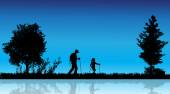 Vector silhouette of family in the countryside near a pond